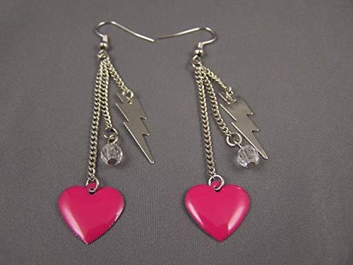 Dk Pink Lightning Bolt heart multi chain dangle earrings lightweight 3.25 long