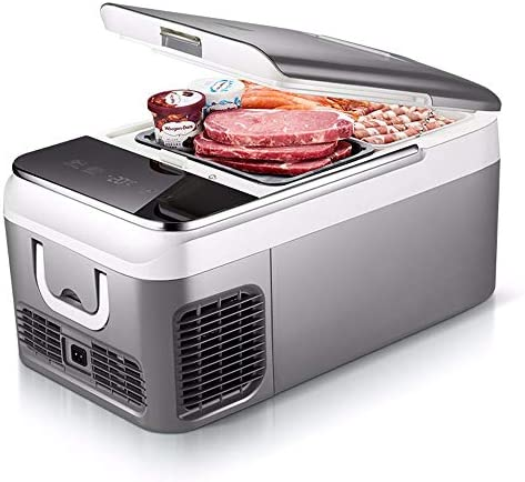 車の冷蔵庫 ミニ冷蔵庫ミニ電気冷蔵庫26分の18リットルポータブルコンプレッサー冷蔵庫冷凍庫クーラーDC 12V 24V AC 220V (Color : 26L, Size : 12V24V)
