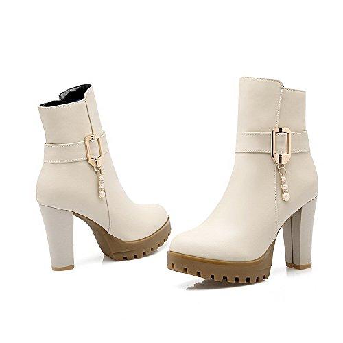 AllhqFashion Damen Weiches Material Rund Zehe Eingelegt Niedrig-Spitze Stiefel Cremefarben