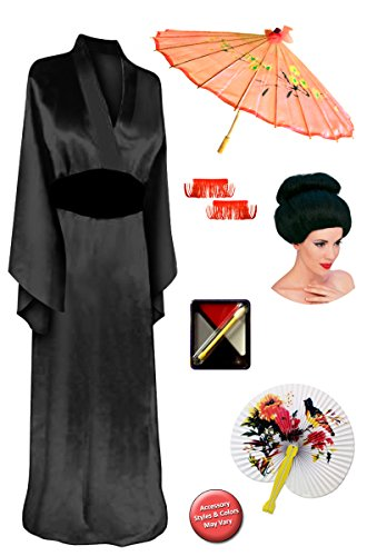 [Solid Black Geisha Robe Plus Size Supersize Costume Deluxe Bun Wig Kit 1x/2x] (Geisha Halloween Costume Makeup)