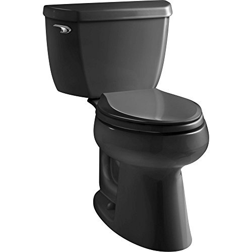 Kohler K-3658-7 Two-Piece Elongated Toilet Bowl 1.28 GPF Black Black