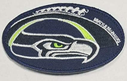 "SEATTLE SEAHAWKS IRON ON PATCH 3.5/"" Sports Football Team Embroidered Applique"