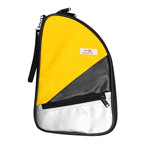 R Shape Artificial Leather Table Tennis Racket Cover Ping Pong Bat Bag(Yellow) by Kylin Express