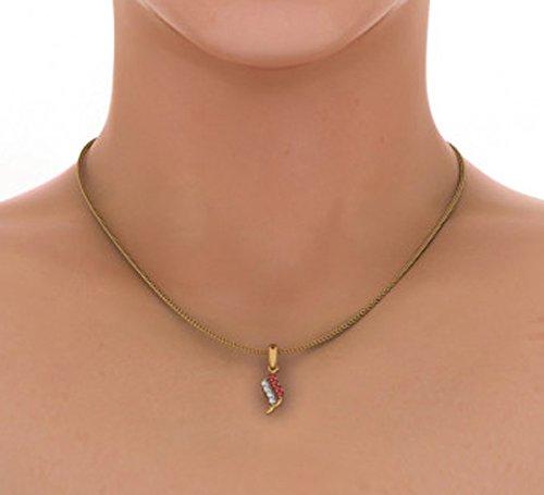 Or jaune 18K 0,1ct tw Round-cut-diamond (IJ   SI) et rubis Pendentif