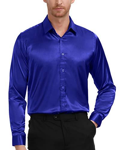 Royal Blue Silk Like Stain Shirt for Men Slim Fit Dress Shirt Size XL