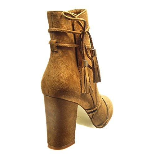 Frange briglia Donna Pon Stivaletti 9 Alti Cammello Angkorly Multi Scarponcini Cm Alto Scarpe Moda A Blocco Tacco wA0xnqBz