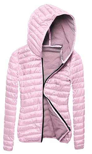 Cromoncent Womens Lightweigth Cotton-Padded Jacket Slim Hoodie Zip Parkas Coat Pink M by Cromoncent