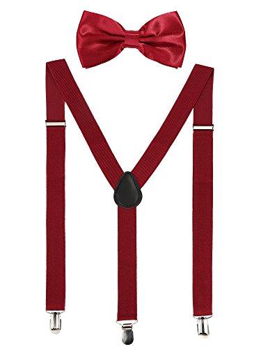 Satinior Suspender Bow Tie Set Clip On Y Shape Adjustable Braces, Suspenders Pant Braces Adjustable Shoulder Straps for Men, Women, Children (Wine-colored) -