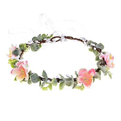 Christmas Wedding Flower Crown Boho Bridal Flower Wreath Babies Breath Hair Crown Headpiece (Pink)