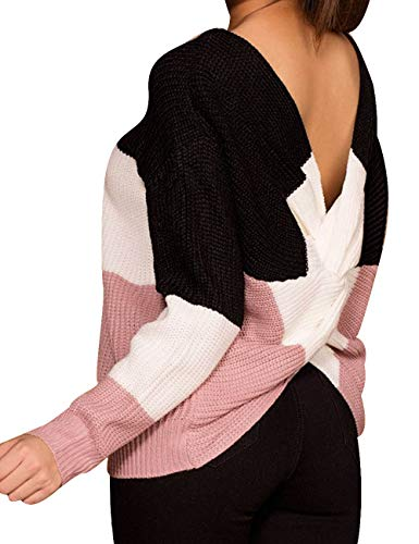 Neck Criss Cross Back Color Block Long Batwing Sleeve Loose Knitted Sweater Pullovers,Black ()