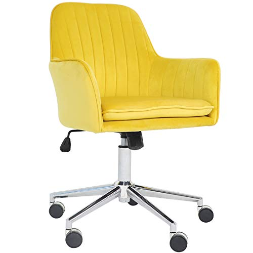 Golden Beach Velvet Fabric Home Office Chair Mid-Back Desk Chair Mordern Comfort Task Chair with Side Arms Adjustable Height Computer Chair Fit for Meeting and Reception (Yellow)