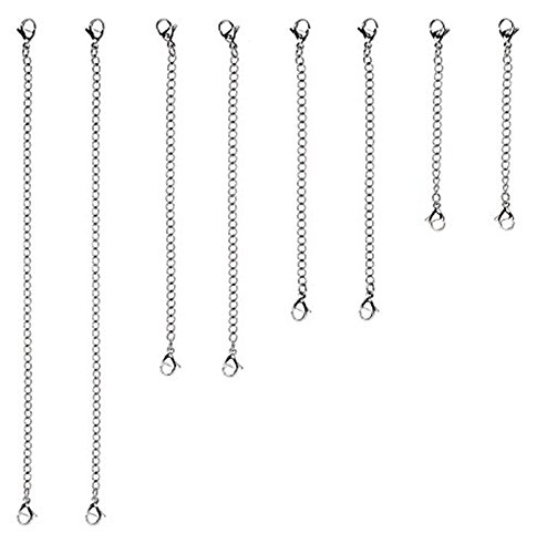 D-buy 8 Piece Stainless Steel Necklace Bracelet Extender Chain, Set 4 Different Length: 6 4 3 2 sisi014