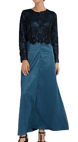 Coolred-femmes Musulmanes Dentelle Abaya Faux Deux Robes Solides Moyen-orient Noirâtre Vert