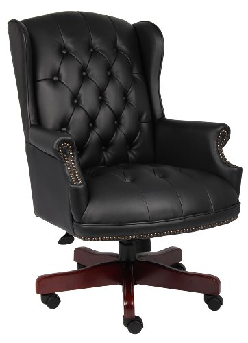 Mahogony Fabric - Boss Office Products B800-BK Wingback Traditional Chair in Black