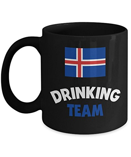 Iceland Drinking Team Mug Acrylic Coffee Holder Black 11oz Alcohol Wine Liquor Drinker Funny Beer Olympics Cup