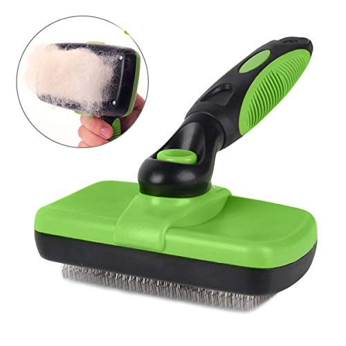 Pet Grooming Brush-Self Cleaning Slicker Brushes for Dogs and Cats Long & Thick Hair Best Pet Shedding Tool for Grooming Loose Undercoat,Tangled Knots & Matted Fur -