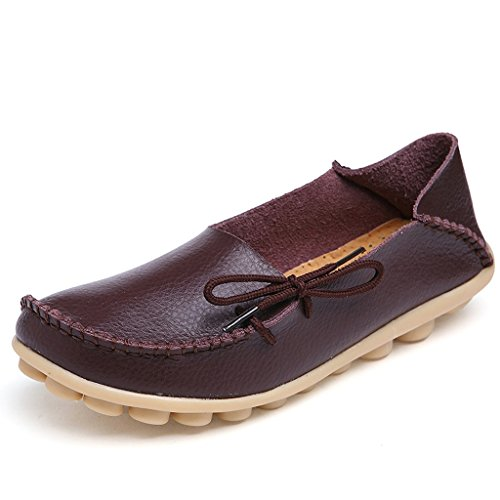 Ifashion Women's Driving Shoes Cowhide Leather Loafers Moccasins Lace-Up Pumps Causal Flats Boat Shoes Coffee k2AIr