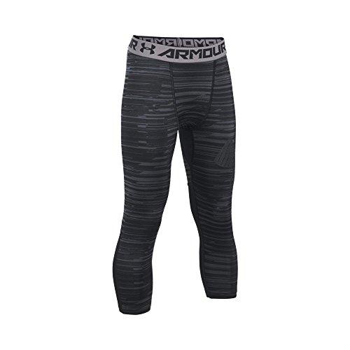 Under Armour Boys' HeatGear Armour HeatGear Printed ¾ Leggings, Black/Black, Youth Small