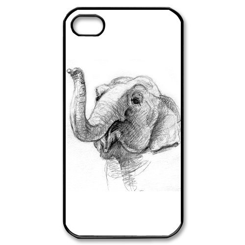 Alice iPhone 4,4s Case,Personalized Custom Abstract Elephant,Unique Design Protective TPU Hard Phone Case Cover