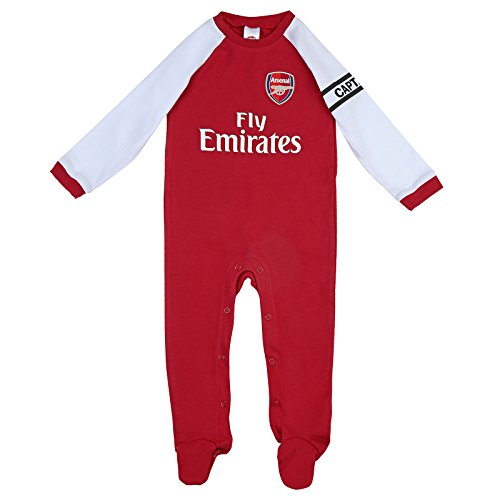 Arsenal FC Official Football Gift Home Kit Baby Sleepsuit Red White 12-18 Months