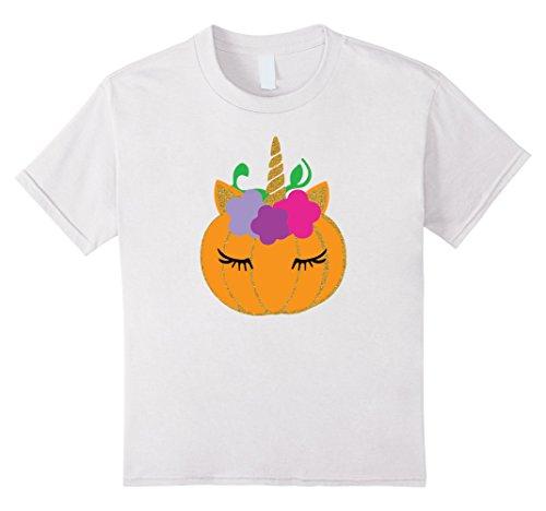 Kids Youth Unicorn Halloween T-Shirt, Girl Halloween Costume Gift 8 White - Girls Halloween Shirt