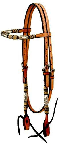 Tough 1 Browband Headstall with Braided Rawhide and Silver Barrels, Medium Oil