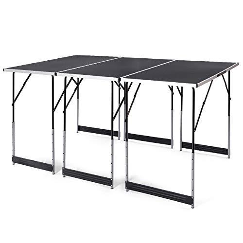 FDInspiration 3Pcs Black Adjustable Height Folding Picnic Table Set with Ebook -