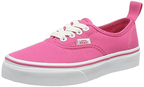 Vans Girls Authentic Elastic Skate Shoe (12.5 Little Kid M, Hot Pink/True (Vans Girls Skateboard Shoe)
