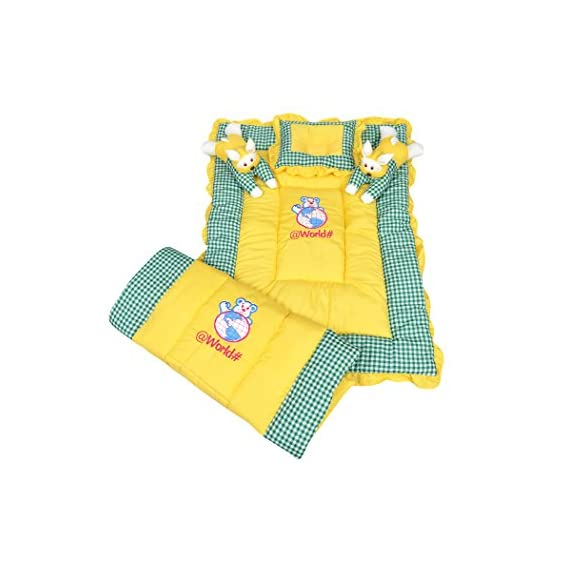 Bachha Rabbit Baby Bedding Set Cartoon Character Embroidery Cloth - Swiss Cotton, Filling - Soft Fiber (Yellow and Green