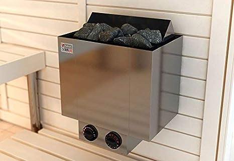 SAWO NORDEX 2017 Elektrische Saunaofen ; Multispannung: entweder Einphasig oder 3-Phasig; Leistungsbereich: 4,5 kW; 6,0 kW; 8,0 kW; 9,0 kW; mit integrierte Steuerung NB-Modell