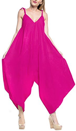Handmade Casual Wear Dress - LA LEELA Rayon Solid Womens Beach Wear Dresses OSFM 14-16 [L-1X] Pink_3434