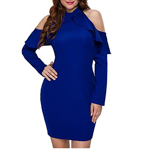 Clubwear Blue Cruiize Cold Ruffle Sleeve Long Solid Shoulder Dress Womens w4rWfrqn0