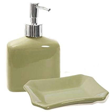 Amazoncom Designer Colors Ceramic Bath Accessories Sage Green - Sage green bathroom accessories