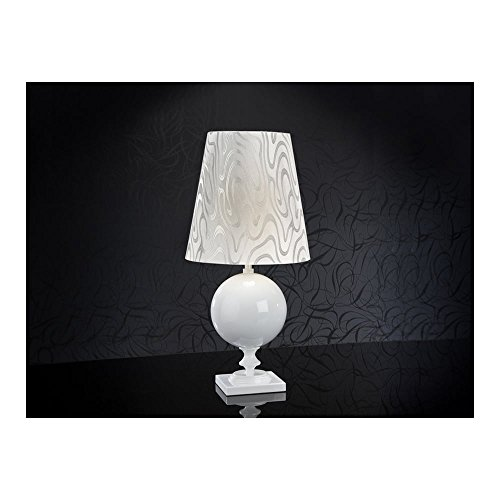 Schuller Spain 664410/7325I4L Traditional White Shade Table Lamp Glossy White 1 Light Living Room, bed room, Study, Bedroom LED, White pattern shade White Table Lamp | ideas4lighting by Schuller