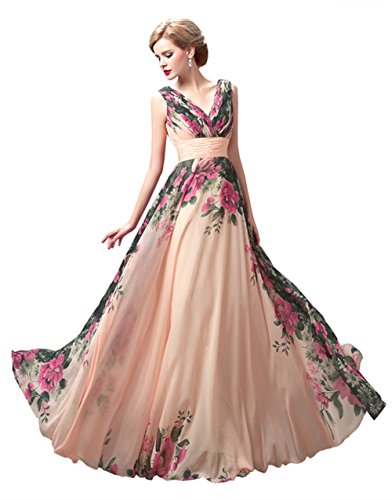 Henglizh Floral Printed Sleeveless V Neck Maxi Formal Dress For Red Carpet,Gowns For Graduation,Size - Gown Printed Chiffon