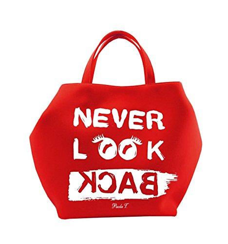 PAOLA T. - Borsa Neoprene Never Look Back - UNICA, rosso, Never Look Back/ Bianco