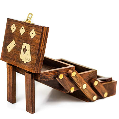 (Wood Crafted Multi Game Box | Cards | Domino | Dice | Wooden Case | Old School Gift Games | Nagina International )