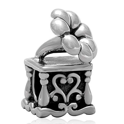 Ollia Jewelry Antique 925 Sterling Silver Beads Phonograph Charm Old-fashioned Turntable Charm Vinyl Record Charm Music (Phonograph Bead)