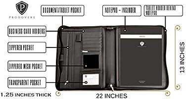 Tablet Sleeve Zipper Paper Pad Business Card and Pen Holders Document Folder Black Professional Executive Business Resume Portfolio Padfolio Organizer PU Leather iPad /& iPad Mini Ready for use