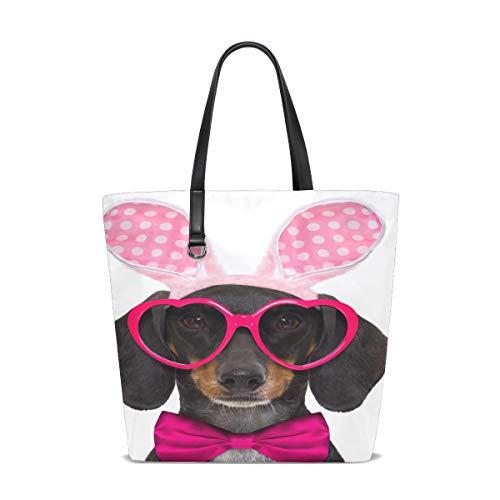 Women Dachshund Sausage Dog Bunny Easter Ears Handle Satchel Handbags Shoulder Bag Tote Purse Messenger Bags]()