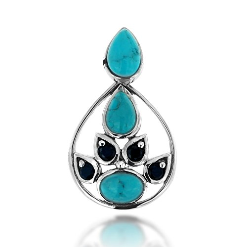 925 Oxidized Sterling Silver Blue Turquo - Spinel Stone Pendant Shopping Results
