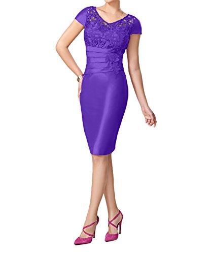 Kurz Pink Abendkleider Festlichkleider Etuikleider Brautmutterkleider Damen Charmant Violett Taft Knielang 4BnO58Rx