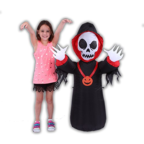 Inflatable Halloween Skeleton - Outdoor Blowup Decorations with LED Lights, Water Resistant, Easy Setup, 4Ft