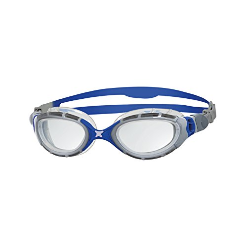 Zoggs Predator Flex 2.0 Swimming Goggles No Leaking Anti Fog UV Protection Triathlon Clear-Royal/Clear (Goggles Predator)