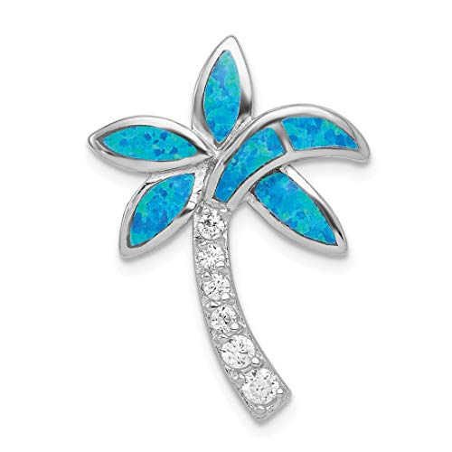 Hawaiin Blue Flowers (925 Sterling Silver Cubic Zirconia Cz Blue Inlay Created Opal Palm Tree Pendant Charm Necklace Sea Shore Fine Jewelry For Women Gift Set)