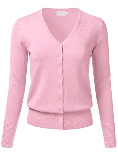 FLORIA Women Button Down V-Neck Long Sleeve Soft Knit Cardigan Sweater BabyPink M (Knit V-neck Sweater)