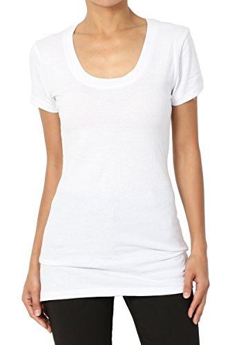 Tee White Neck Scoop (TheMogan Women's Scoop Neck Short Sleeve T-Shirts Cotton Tee White M)