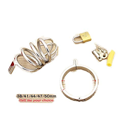 sensitives Male Chastity Device Stainless Steel Cock Short Cage Men's Virginity Lock, Small Chastity Belt Adult Game Sex Toys 38mm by sensitives (Image #1)
