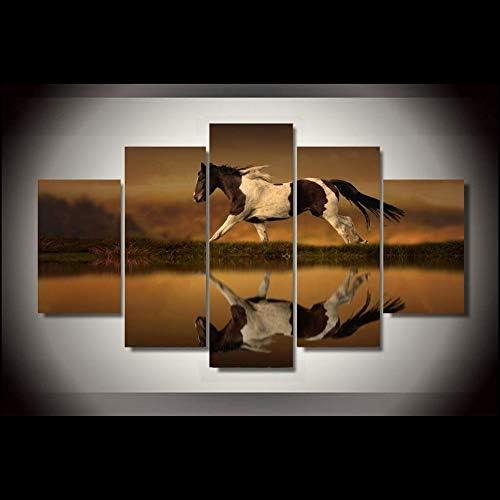 SDALD Impresión de Lienzo 5 Pieza 200x100CM Cuadro sobre lienzo Paisaje animal caballo Cuadros para sala de estar con 5 paneles, Cuadros de decoración moderna Pintura de Paneles múltiples Cuadros deco