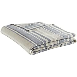 Eddie Bauer 213124 Herringbone Blanket, King, Blue Stripe